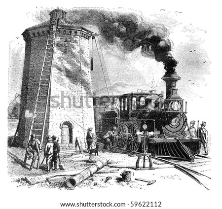 "Steam Locomotive is being filled with water. Illustration originally published in Hesse-Wartegg's ""Nord Amerika"", swedish edition published in 1880. The image is currently in public domain. - stock photo"