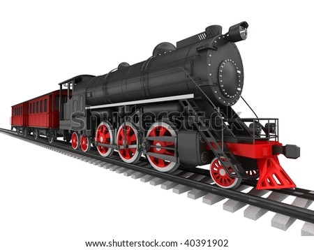 Steam locomotive isolated on white