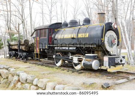 steam locomotive near Lincoln, New Hampshire, USA - stock photo