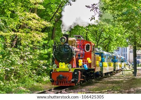 Steam locomotive on Kiev Children's Railway, Ukraine (750 mm (2 ft 5 1?2 in) gauge) - stock photo