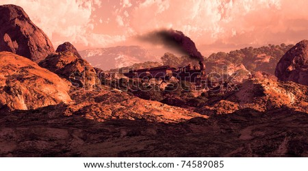 Steam locomotive rolling through the Great Southwest landscape. - stock photo