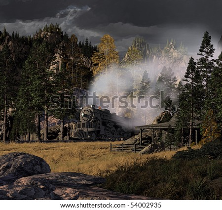 Steam locomotive rolling through the Rocky Mountains with thunder storm approaching. - stock photo