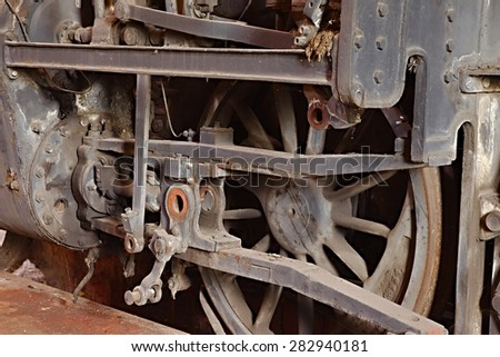 Steam locomotive rusting for ages - stock photo