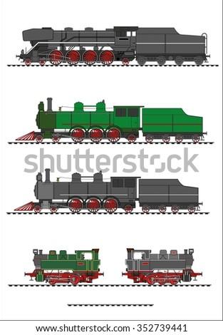 Steam locomotive set - stock photo