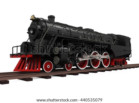 Steam Locomotive Train. 3D rendering