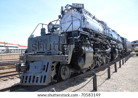 Steam locomotive Union Pacific 4012 in Steamtown National Historic Site in Scranton, Pennsylvania Locomotive #4012 were the longest and most powerful steam locomotives in the world - stock photo