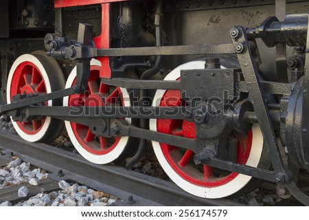 Steam locomotive wheels. - stock photo