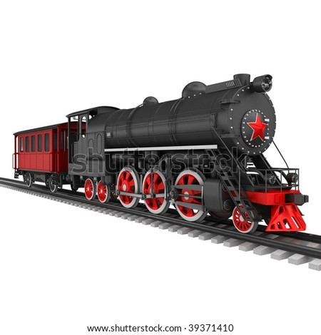 Steam locomotive with red car isolated on white