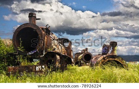 Steam locomotives left in Ponferrada, Leon, Spain - stock photo