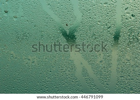 Steam on glass caused by moisture and background.