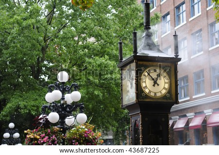 Steam-powered clock found at Gastown (a national historic site) located in Vancouver, British Columbia - stock photo