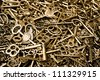 steam-punk background within a lot of vermeil keys - stock photo