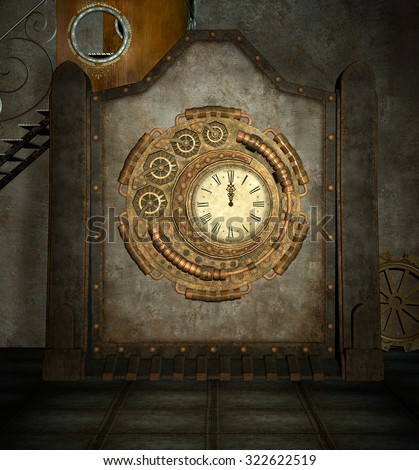 Steam punk clock room - stock photo