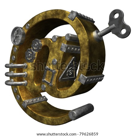 steam punk email symbol on white background - 3d illustration - stock photo