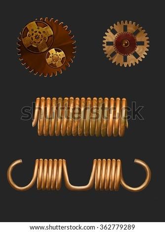 steam-punk, gear,gold,spring, rust, dark red. - stock photo