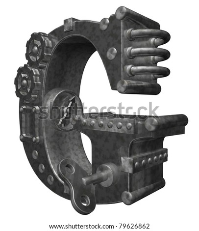 steam punk letter g on white background - 3d illustration