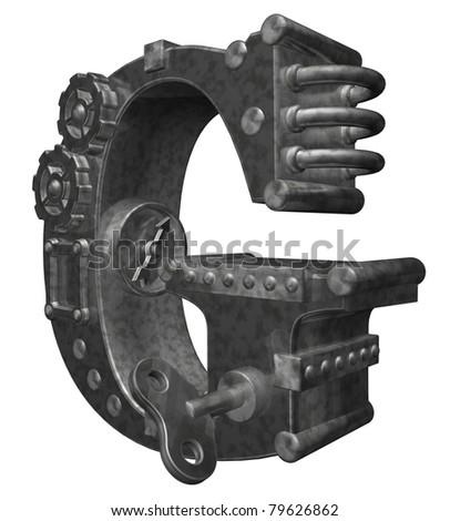 steam punk letter g on white background - 3d illustration - stock photo
