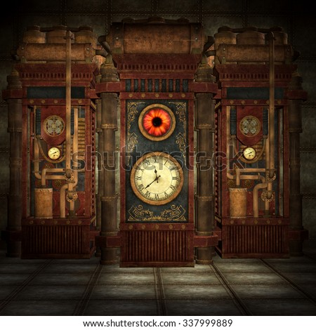 Steam-punk machine room  - stock photo