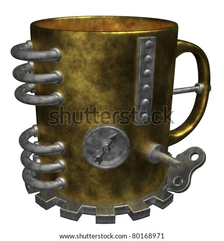 steam punk mug on white background - 3d illustration