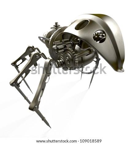 Steam punk spider - back view / Robot - spider - spy - stock photo