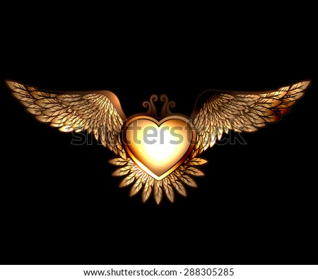 Steam punk style heart with wings - stock photo