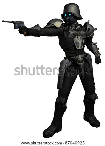 Steam punk trooper with pistol, 3d digitally rendered illustration - stock photo