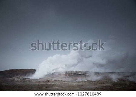 Steam rises from Gunnuhver geothermal area in the Reykjanes Peninsula, Iceland.