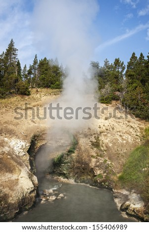 Steam rising from Dragon's Mouth Spring in Yellowstone National Park, Wyoming