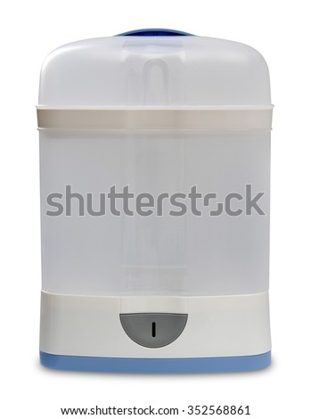 Steam sterilizer for baby bottle isolated on white