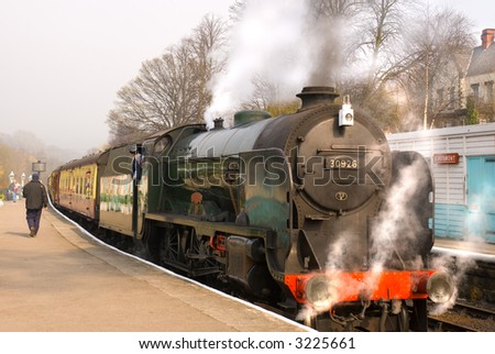Steam train at Grosmont (North Yorkshire Moors Railway) station - stock photo