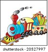 steam train illustration - stock photo