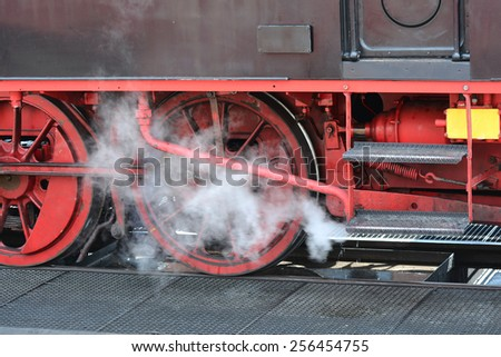Steam Train in the station of Bad Doberan - stock photo