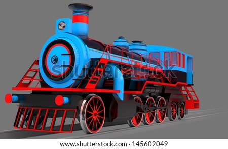 steam train isolated on a grey background