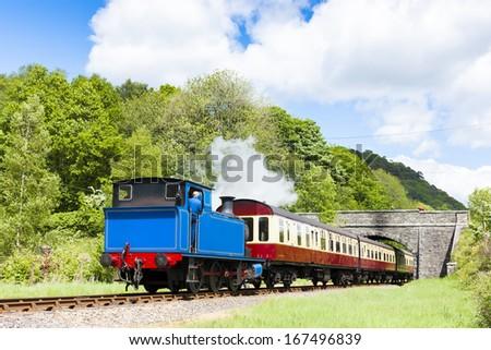 steam train, Lakeside and Haverthwaite Railway, Cumbria, England - stock photo