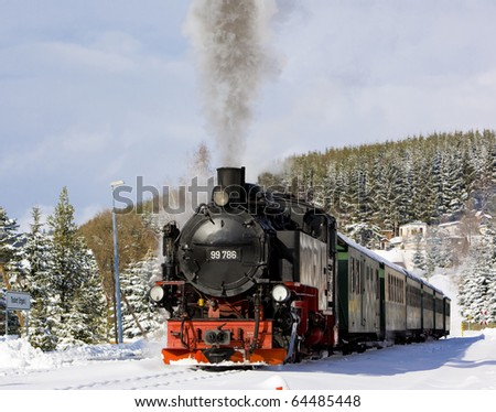 steam train, Oberwiesenthal - Cranzhal (Fichtelbergbahn), Germany - stock photo