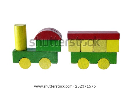 Steam train of wooden blocks, traditional toy on white background - stock photo