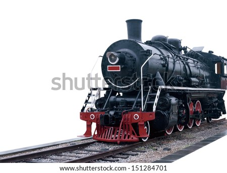 Steam train on a white. - stock photo