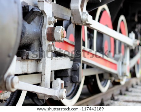 Steam train wheels - stock photo