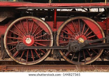 Steam train, wheels. - stock photo