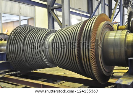 Steam Turbine of coal thermal power plant - stock photo