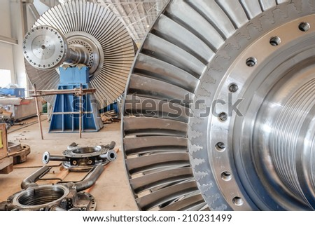 steam turbine of power plant - stock photo