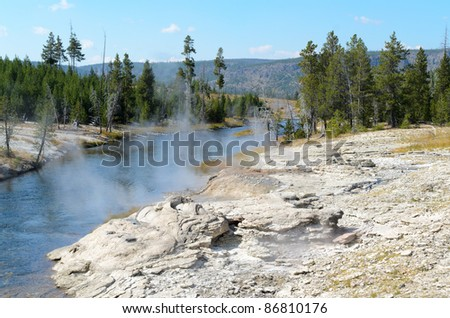 steam vents on the side of a creek - stock photo