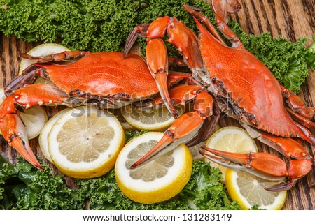Steamed Blue Crabs one of the symbols of Maryland State and Ocean City, MD - stock photo