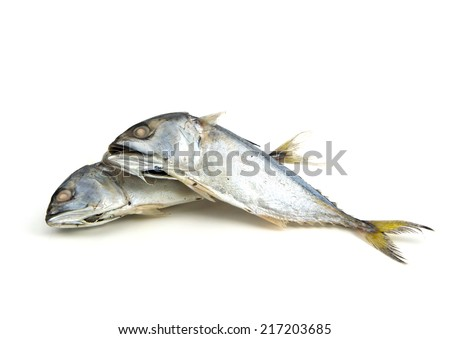 steamed boiled mackerel ready for cook one of the most favorite healthy food in South East Asia style. This was isolated on white background