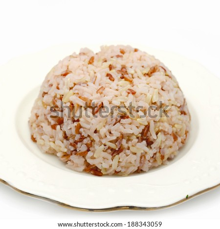Steamed brown rice - stock photo