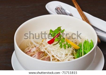 Steamed chicken and vegetable pho - stock photo
