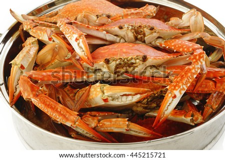 steamed crab in steaming pot - stock photo