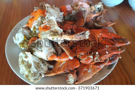 Steamed crab legs , seafood, thai style in thailand