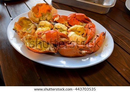 steamed crab, Thai seafood - stock photo