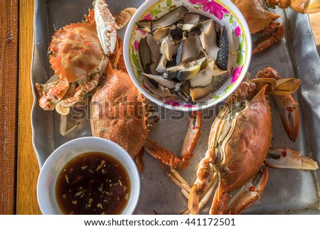 Steamed crab thai style - stock photo